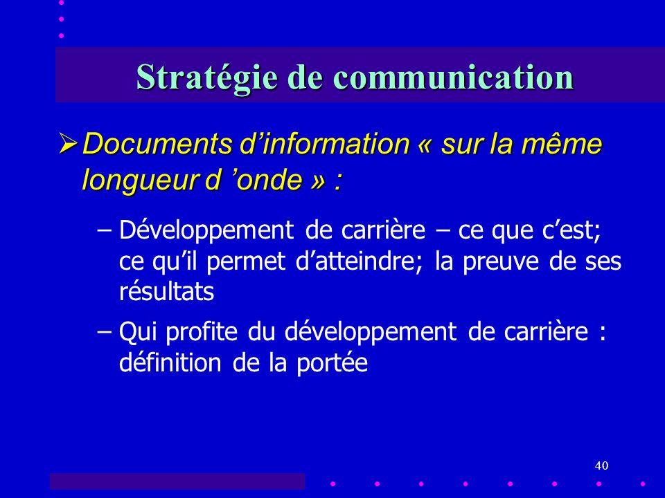 40 Stratégie de communication Documents dinformation « sur la même longueur d onde » : Documents dinformation « sur la même longueur d onde » : –Développement de carrière – ce que cest; ce quil permet datteindre; la preuve de ses résultats –Qui profite du développement de carrière : définition de la portée