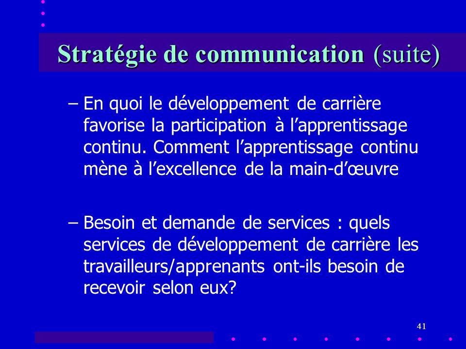 41 Stratégie de communication (suite) –En quoi le développement de carrière favorise la participation à lapprentissage continu.