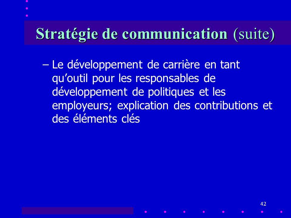 42 Stratégie de communication (suite) –Le développement de carrière en tant quoutil pour les responsables de développement de politiques et les employeurs; explication des contributions et des éléments clés