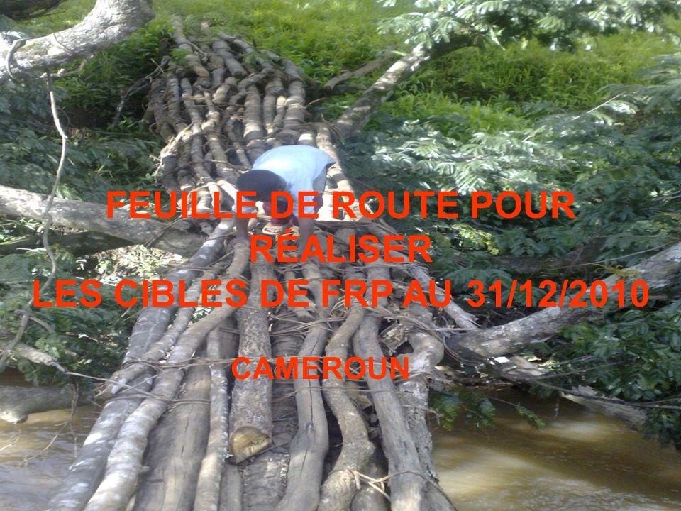 18 Nov 2009 FEUILLE DE ROUTE POUR RÉALISER LES CIBLES DE FRP AU 31/12/2010 CAMEROUN