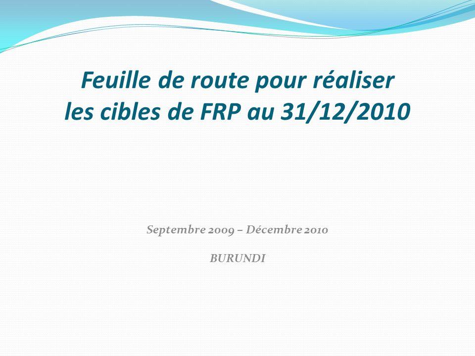 Feuille de route pour réaliser les cibles de FRP au 31/12/2010 Septembre 2009 – Décembre 2010 BURUNDI