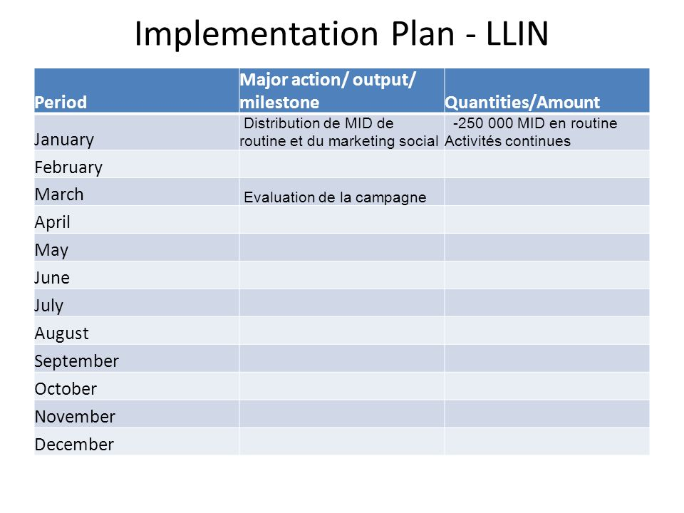Implementation Plan - LLIN Period Major action/ output/ milestoneQuantities/Amount January Distribution de MID de routine et du marketing social -250