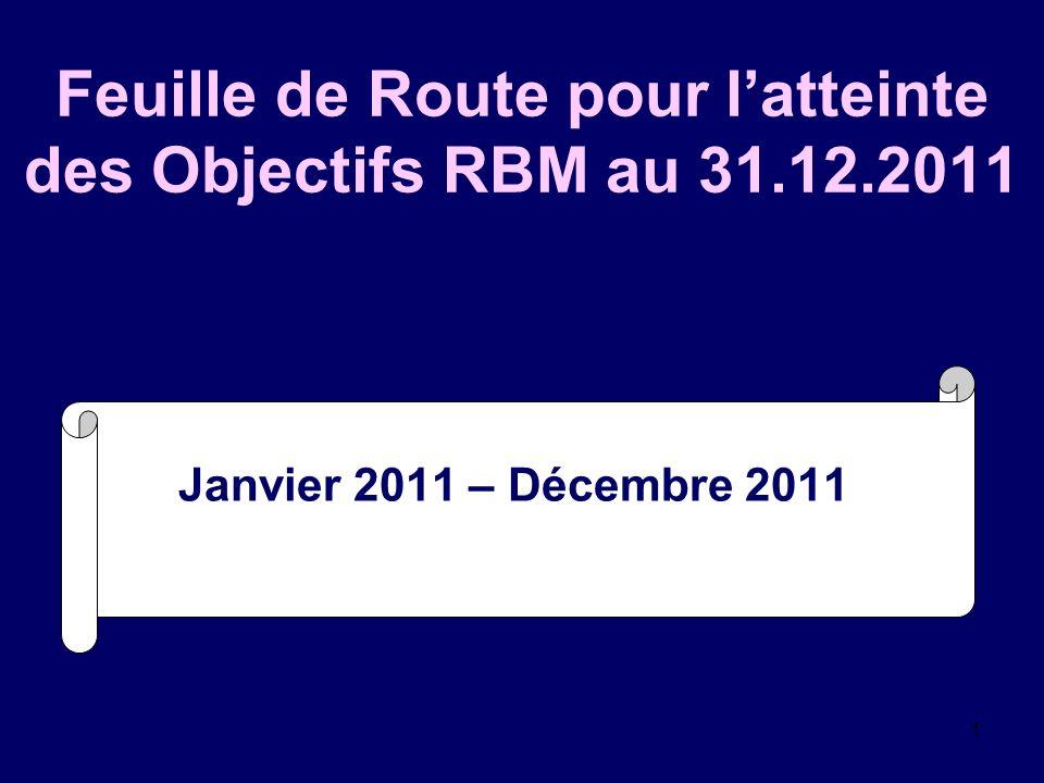 1 Feuille de Route pour latteinte des Objectifs RBM au 31.12.2011 Janvier 2011 – Décembre 2011