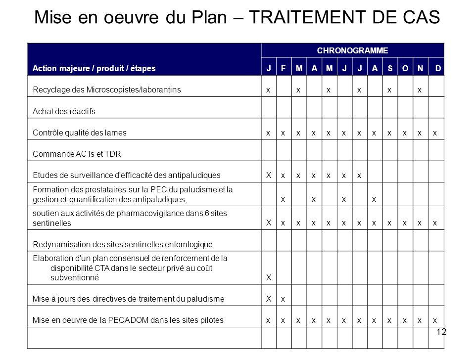 12 Mise en oeuvre du Plan – TRAITEMENT DE CAS Action majeure / produit / étapes CHRONOGRAMME JFMAMJJASOND Recyclage des Microscopistes/laborantinsxxxx