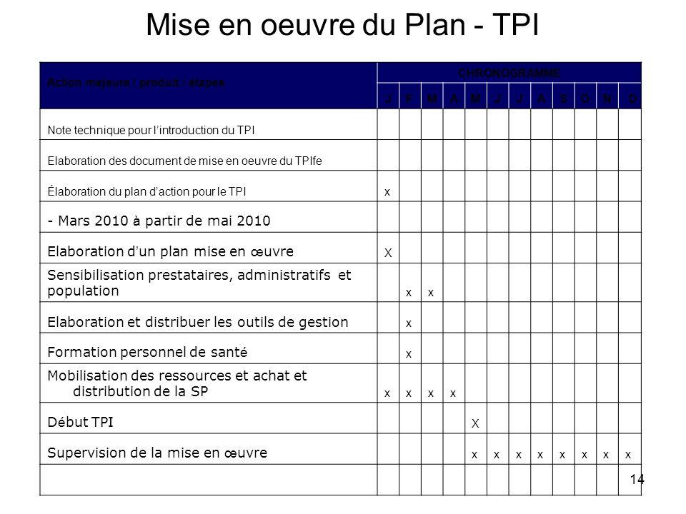 14 Mise en oeuvre du Plan - TPI Action majeure / produit / étapes CHRONOGRAMME JFMAMJJASOND Note technique pour lintroduction du TPI Elaboration des d