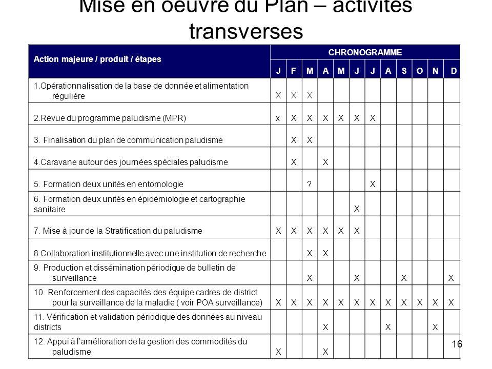 16 Mise en oeuvre du Plan – activités transverses Action majeure / produit / étapes CHRONOGRAMME JFMAMJJASOND 1.Opérationnalisation de la base de donn