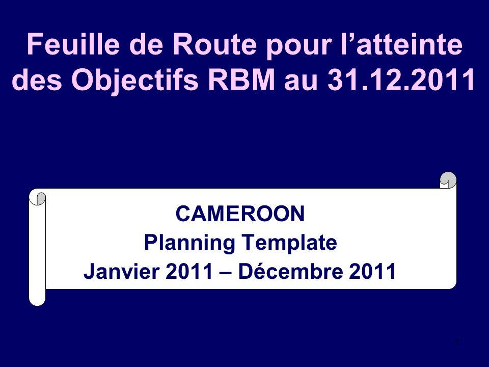 1 Feuille de Route pour latteinte des Objectifs RBM au 31.12.2011 CAMEROON Planning Template Janvier 2011 – Décembre 2011 []