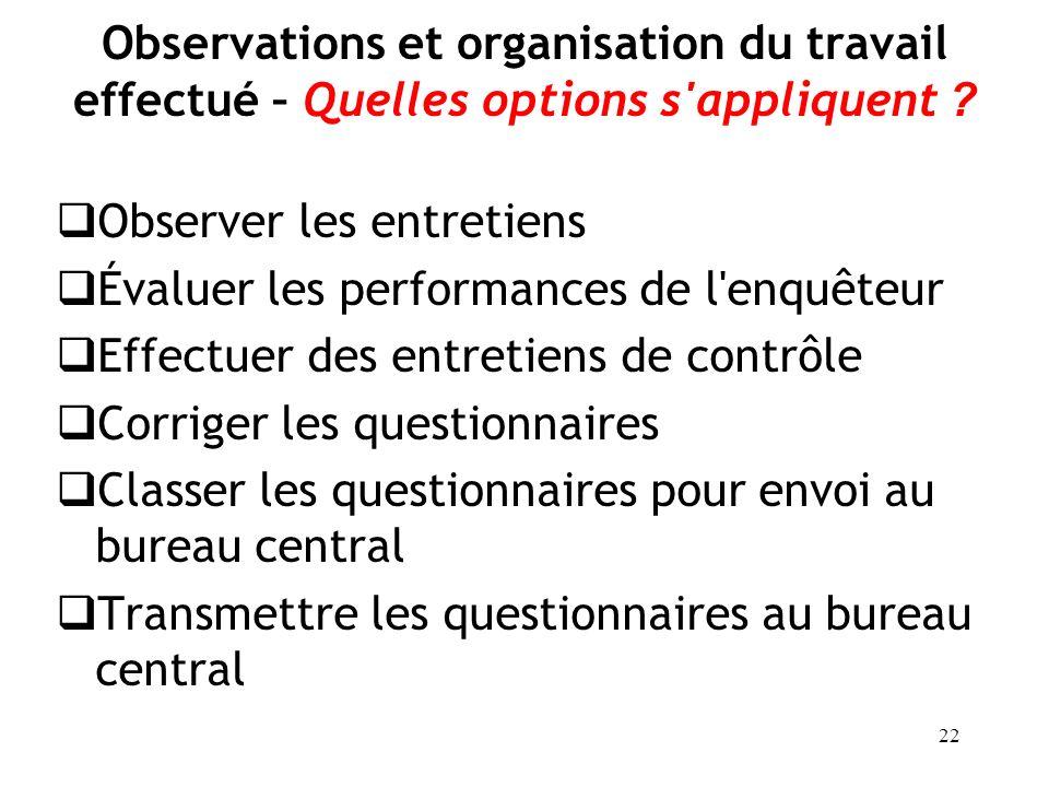 22 Observations et organisation du travail effectué – Quelles options s'appliquent ? Observer les entretiens Évaluer les performances de l'enquêteur E