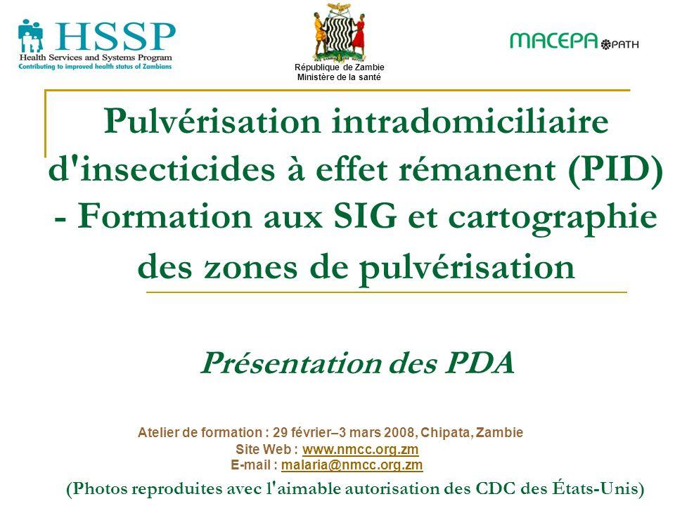 Pulvérisation intradomiciliaire d'insecticides à effet rémanent (PID) - Formation aux SIG et cartographie des zones de pulvérisation Présentation des