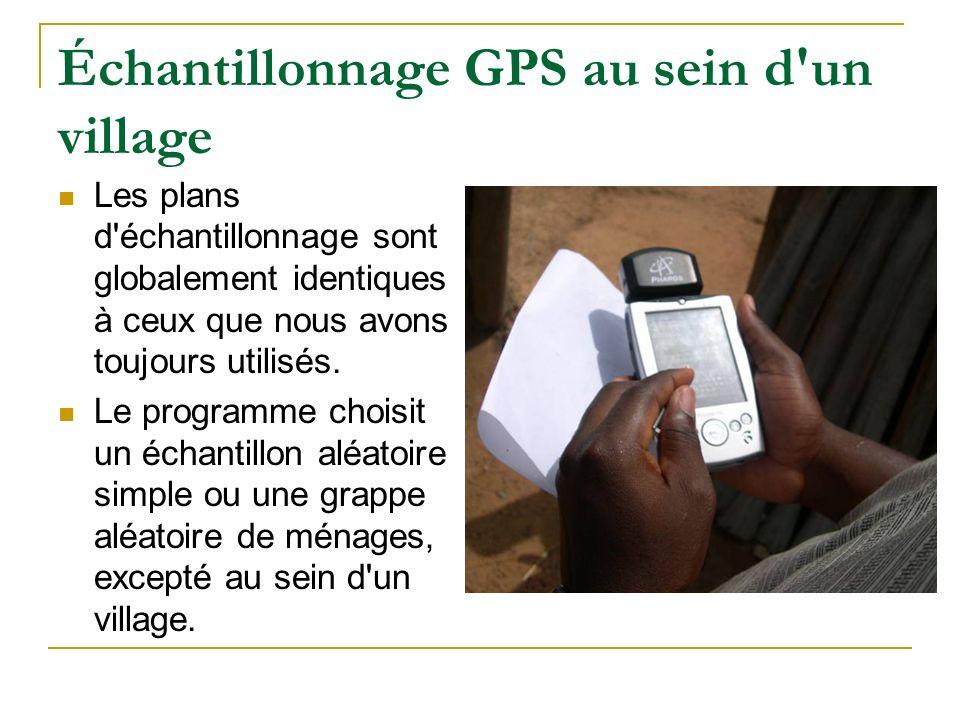 Échantillonnage GPS au sein d'un village Les plans d'échantillonnage sont globalement identiques à ceux que nous avons toujours utilisés. Le programme