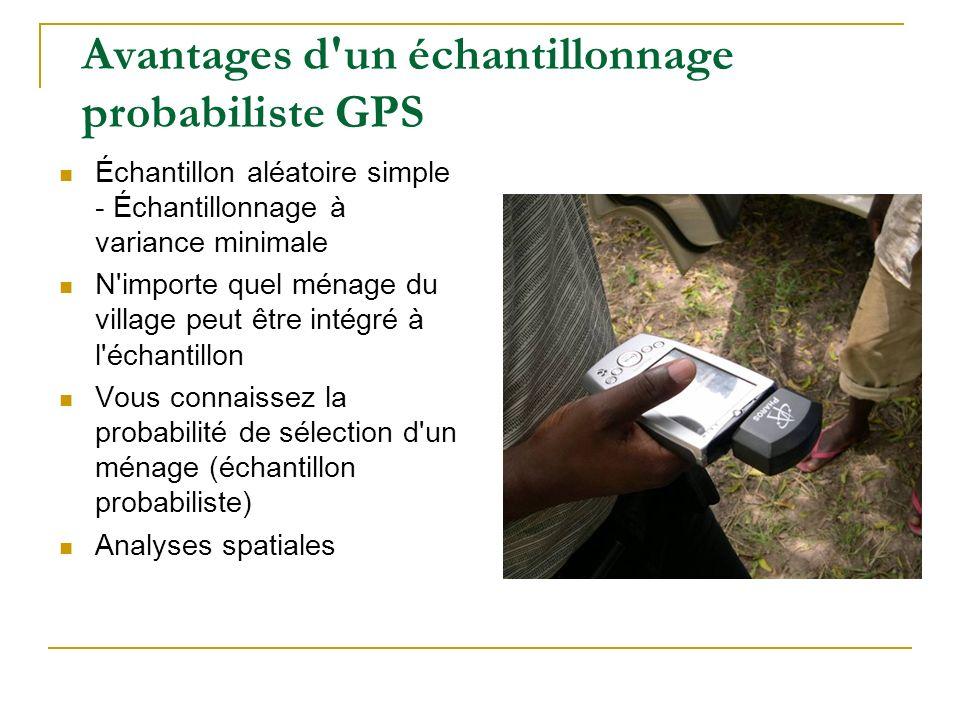 Avantages d'un échantillonnage probabiliste GPS Échantillon aléatoire simple - Échantillonnage à variance minimale N'importe quel ménage du village pe