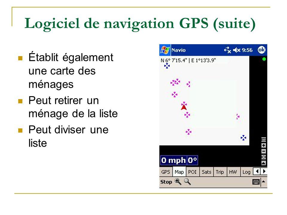 Logiciel de navigation GPS (suite) Établit également une carte des ménages Peut retirer un ménage de la liste Peut diviser une liste