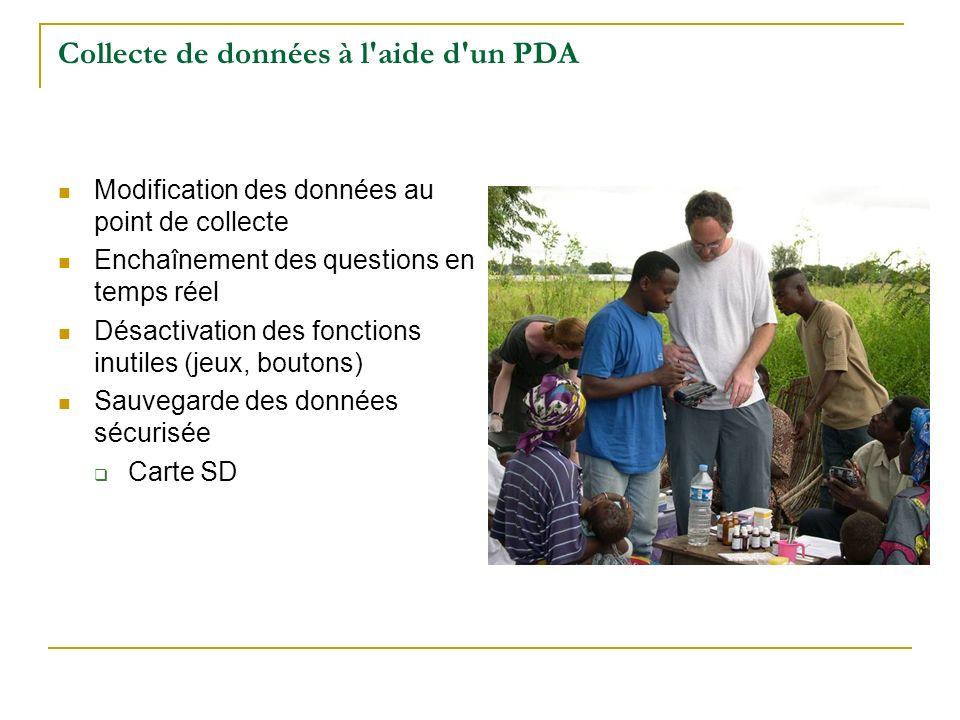 Collecte de données à l'aide d'un PDA Modification des données au point de collecte Enchaînement des questions en temps réel Désactivation des fonctio