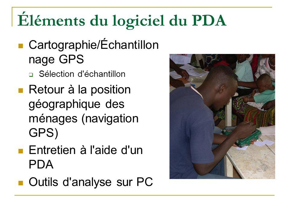 Éléments du logiciel du PDA Cartographie/Échantillon nage GPS Sélection d'échantillon Retour à la position géographique des ménages (navigation GPS) E
