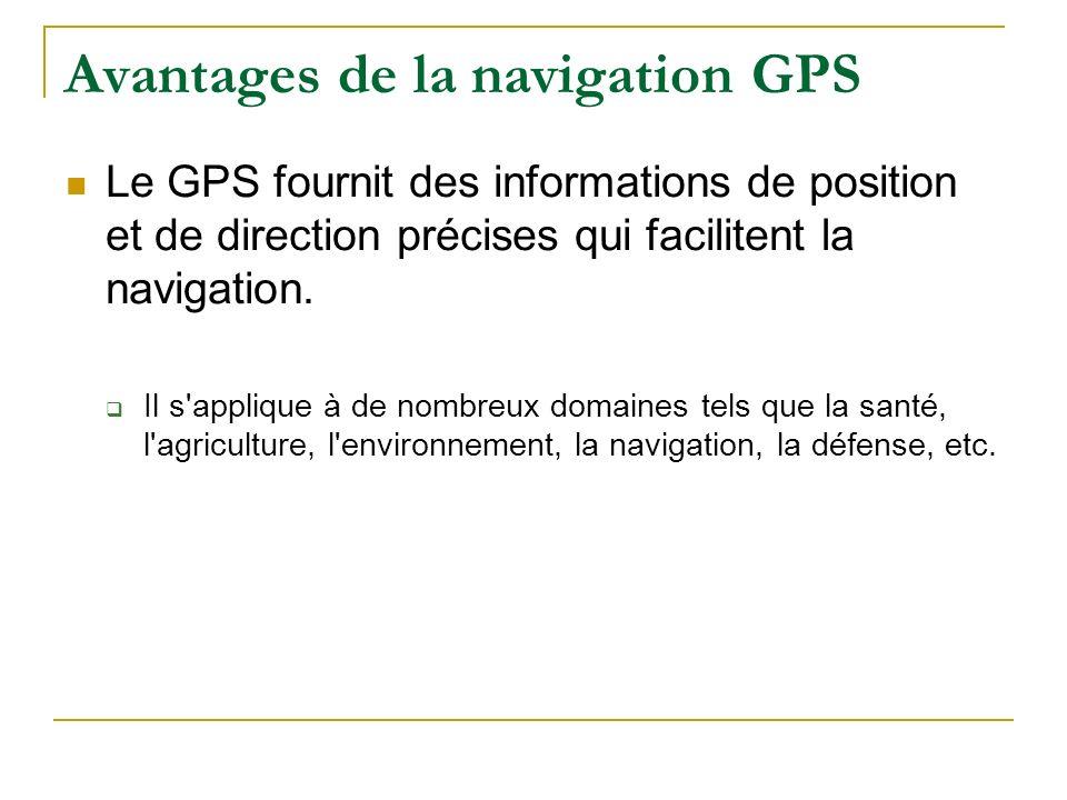 Avantages de la navigation GPS Le GPS fournit des informations de position et de direction précises qui facilitent la navigation. Il s'applique à de n