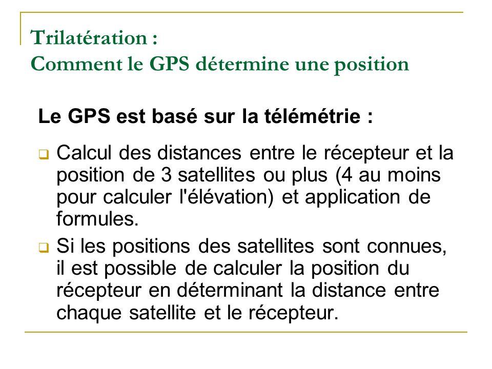 Trilatération : Comment le GPS détermine une position Le GPS est basé sur la télémétrie : Calcul des distances entre le récepteur et la position de 3