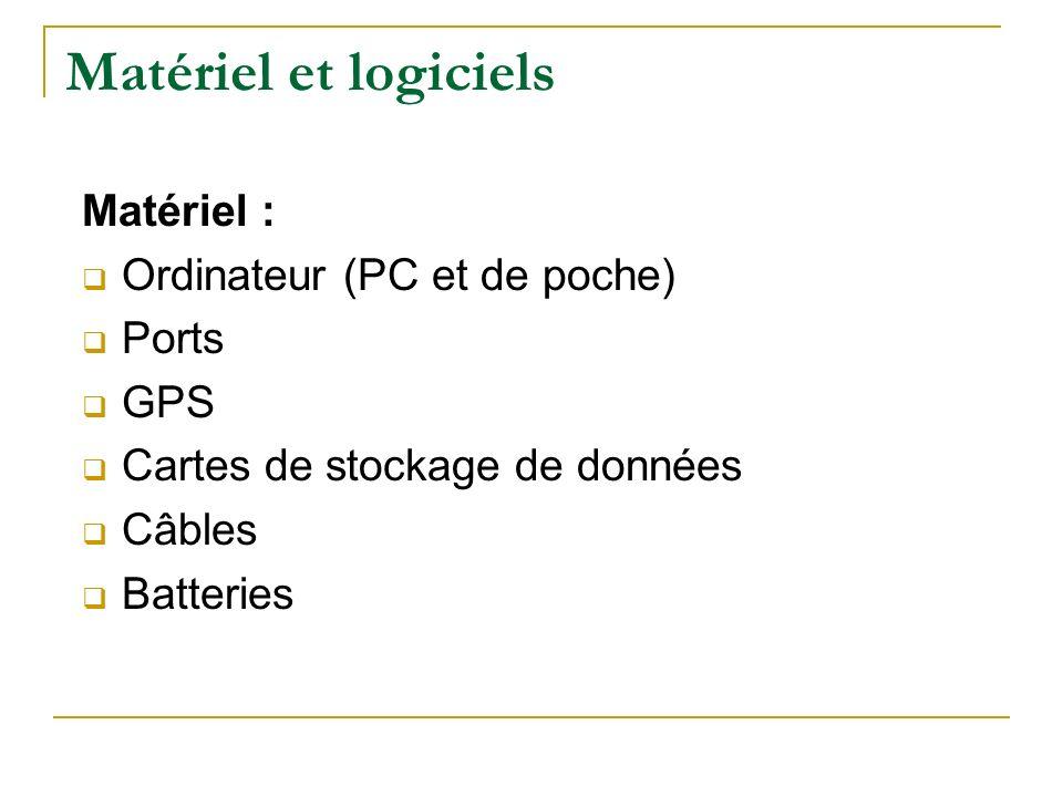 Matériel et logiciels Matériel : Ordinateur (PC et de poche) Ports GPS Cartes de stockage de données Câbles Batteries