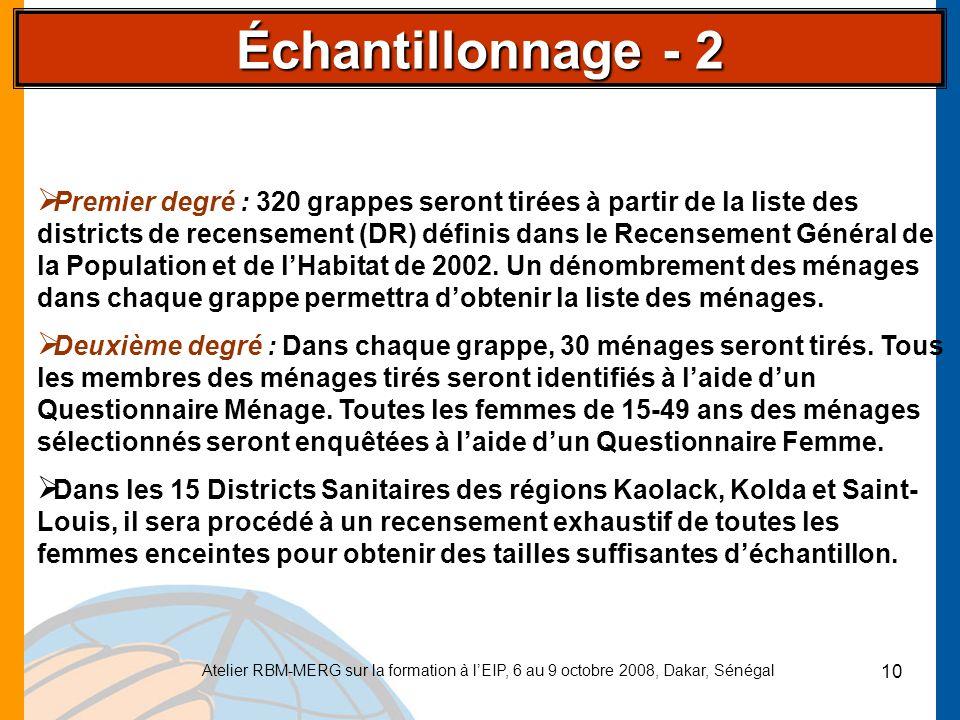 Atelier RBM-MERG sur la formation à lEIP, 6 au 9 octobre 2008, Dakar, Sénégal 10 Premier degré : 320 grappes seront tirées à partir de la liste des di