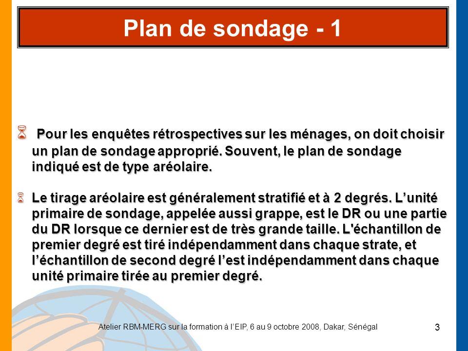 Atelier RBM-MERG sur la formation à lEIP, 6 au 9 octobre 2008, Dakar, Sénégal 4 Plan de sondage - 2 Calcul des probabilités de sondage