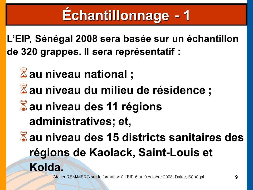 Atelier RBM-MERG sur la formation à lEIP, 6 au 9 octobre 2008, Dakar, Sénégal 10 Premier degré : 320 grappes seront tirées à partir de la liste des districts de recensement (DR) définis dans le Recensement Général de la Population et de lHabitat de 2002.