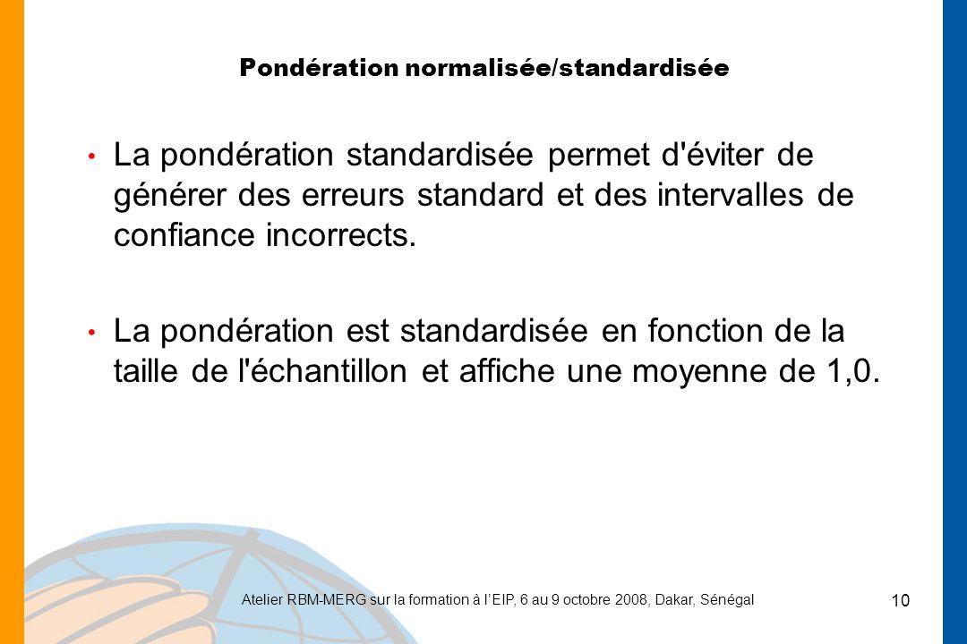 Atelier RBM-MERG sur la formation à lEIP, 6 au 9 octobre 2008, Dakar, Sénégal 10 Pondération normalisée/standardisée La pondération standardisée permet d éviter de générer des erreurs standard et des intervalles de confiance incorrects.