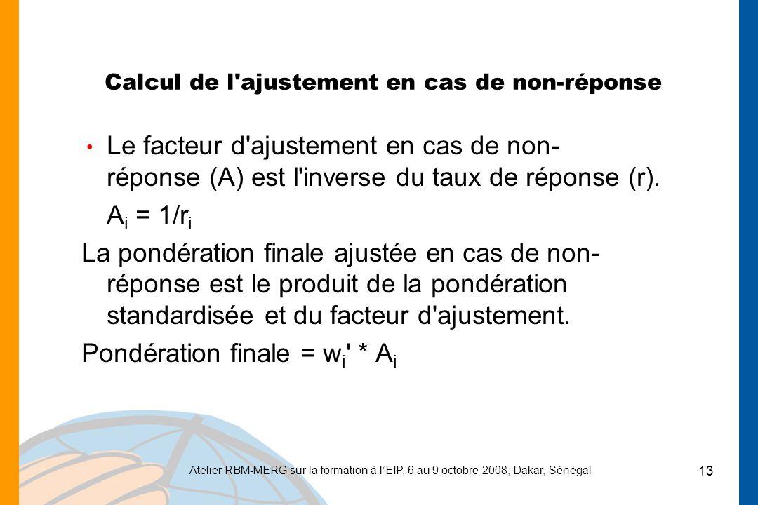 Atelier RBM-MERG sur la formation à lEIP, 6 au 9 octobre 2008, Dakar, Sénégal 13 Calcul de l ajustement en cas de non-réponse Le facteur d ajustement en cas de non- réponse (A) est l inverse du taux de réponse (r).