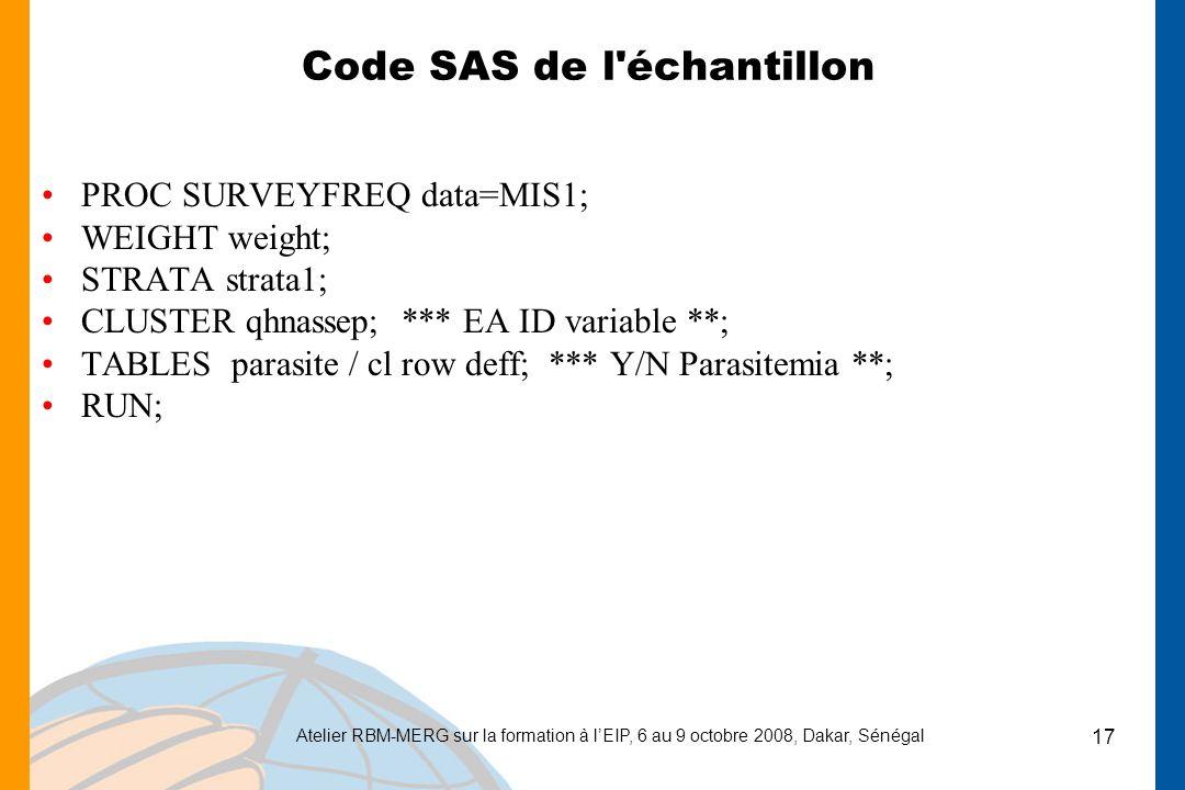 Atelier RBM-MERG sur la formation à lEIP, 6 au 9 octobre 2008, Dakar, Sénégal 17 Code SAS de l échantillon PROC SURVEYFREQ data=MIS1; WEIGHT weight; STRATA strata1; CLUSTER qhnassep; *** EA ID variable **; TABLES parasite / cl row deff; *** Y/N Parasitemia **; RUN;