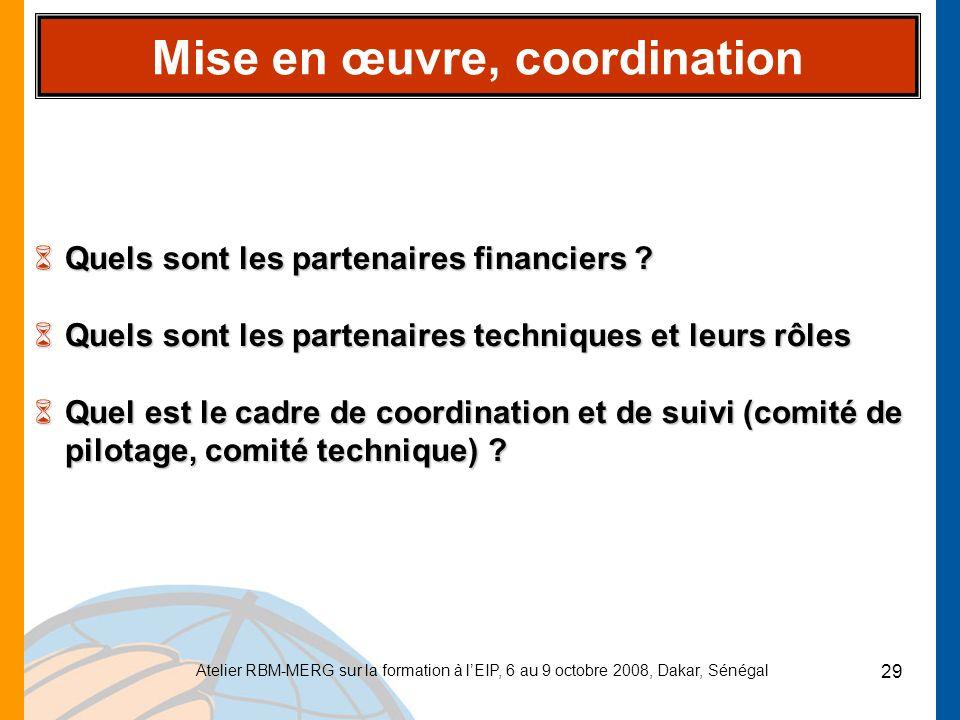 Atelier RBM-MERG sur la formation à lEIP, 6 au 9 octobre 2008, Dakar, Sénégal 29 Mise en œuvre, coordination 6Quels sont les partenaires financiers ?