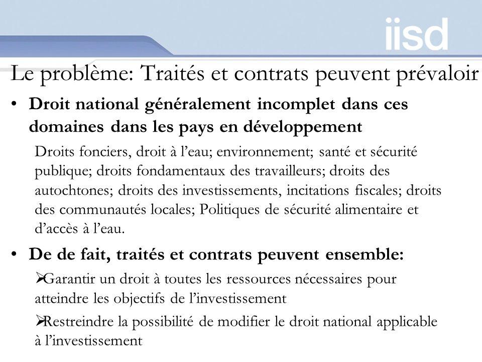 Le problème: Traités et contrats peuvent prévaloir Droit national généralement incomplet dans ces domaines dans les pays en développement Droits fonci