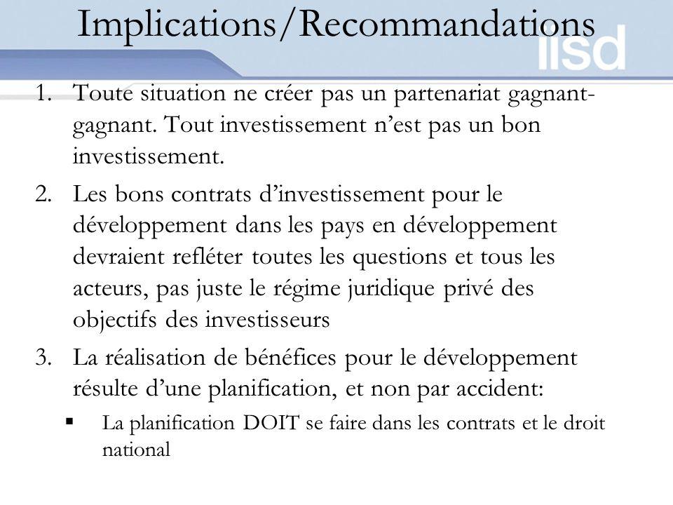 Implications/Recommandations 1.Toute situation ne créer pas un partenariat gagnant- gagnant. Tout investissement nest pas un bon investissement. 2.Les