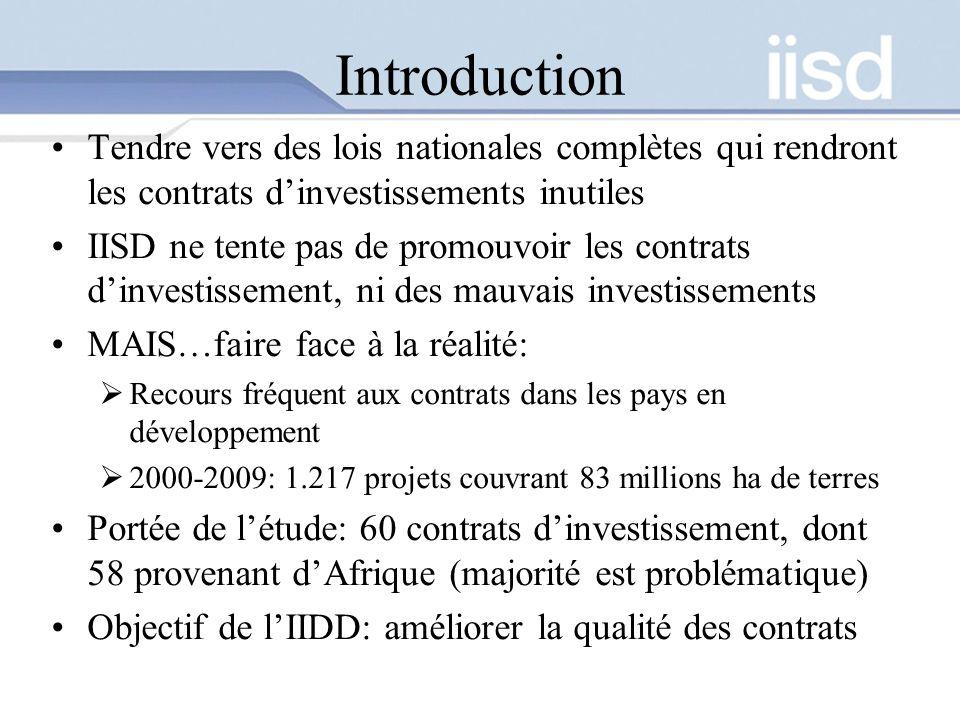 Introduction Tendre vers des lois nationales complètes qui rendront les contrats dinvestissements inutiles IISD ne tente pas de promouvoir les contrats dinvestissement, ni des mauvais investissements MAIS…faire face à la réalité: Recours fréquent aux contrats dans les pays en développement 2000-2009: 1.217 projets couvrant 83 millions ha de terres Portée de létude: 60 contrats dinvestissement, dont 58 provenant dAfrique (majorité est problématique) Objectif de lIIDD: améliorer la qualité des contrats