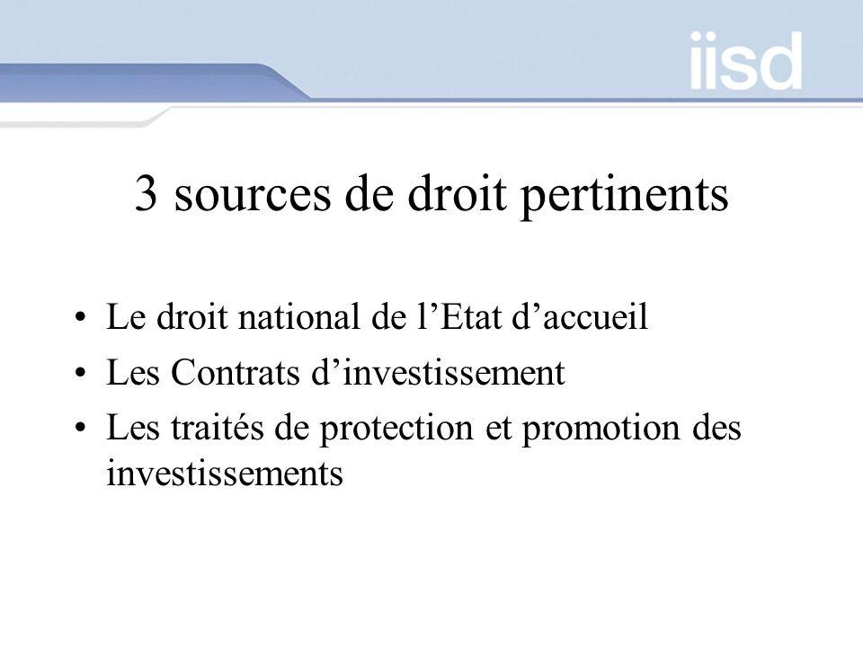 3 sources de droit pertinents Le droit national de lEtat daccueil Les Contrats dinvestissement Les traités de protection et promotion des investisseme