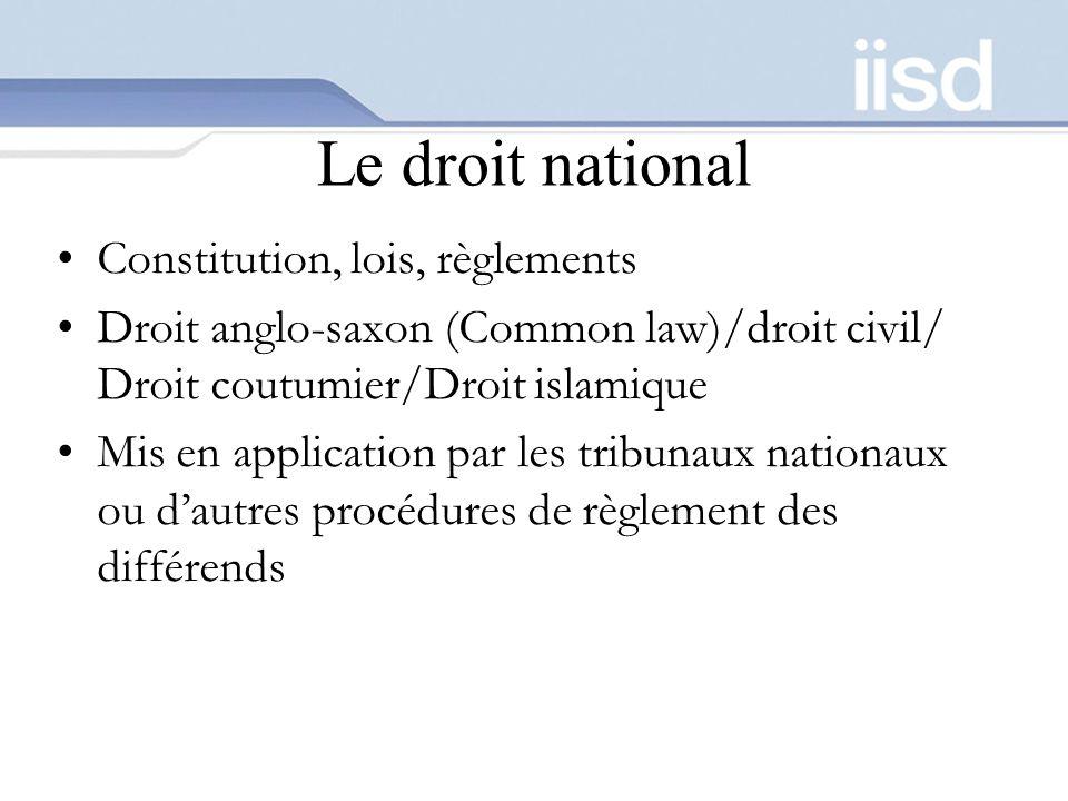 Le droit national Constitution, lois, règlements Droit anglo-saxon (Common law)/droit civil/ Droit coutumier/Droit islamique Mis en application par le
