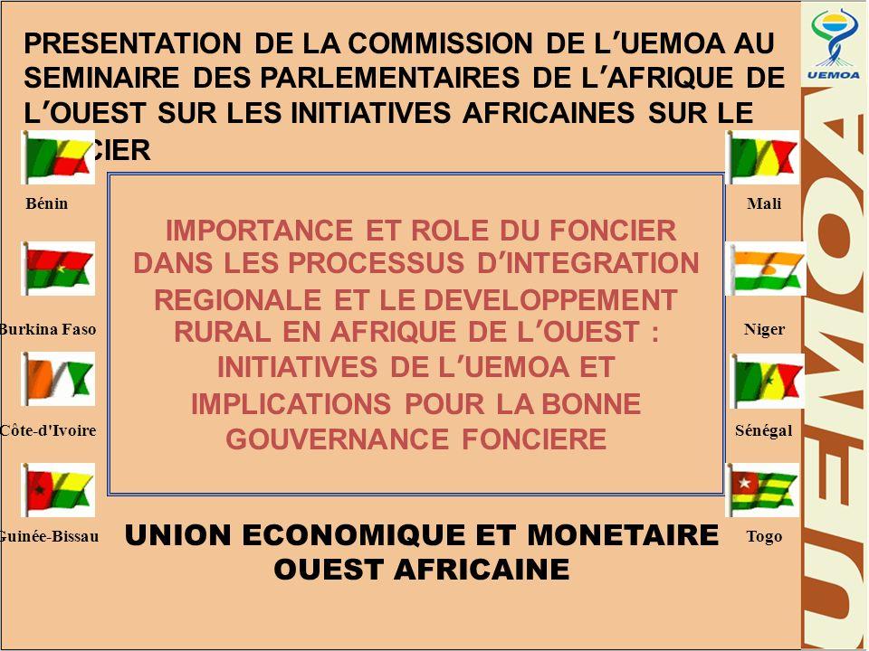 ENJEUX ET DEFIS POUR LUEMOA Contribution à lexploitation et à la valorisation de lespace rural : promotion dun aménagement équilibré du territoire de lUnion (Objectifs PATC)