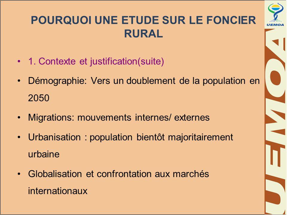 POURQUOI UNE ETUDE SUR LE FONCIER RURAL 1. Contexte et justification(suite) Démographie: Vers un doublement de la population en 2050 Migrations: mouve