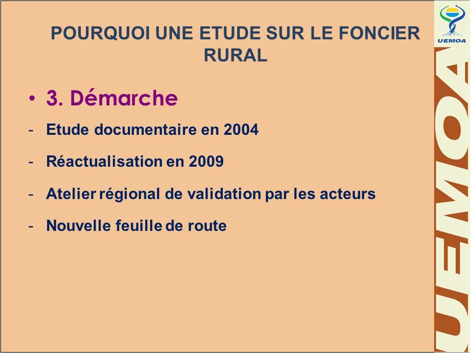 POURQUOI UNE ETUDE SUR LE FONCIER RURAL 3. Démarche -Etude documentaire en 2004 -Réactualisation en 2009 -Atelier régional de validation par les acteu