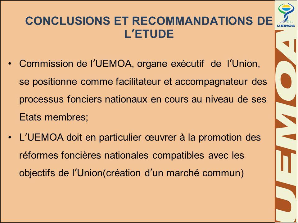CONCLUSIONS ET RECOMMANDATIONS DE LETUDE Commission de lUEMOA, organe exécutif de lUnion, se positionne comme facilitateur et accompagnateur des proce