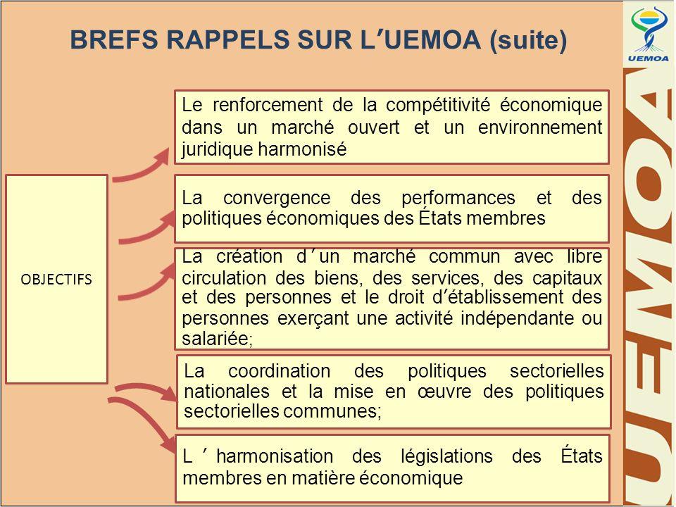 BREFS RAPPELS SUR LUEMOA (suite) OBJECTIFS Le renforcement de la compétitivité économique dans un marché ouvert et un environnement juridique harmonis