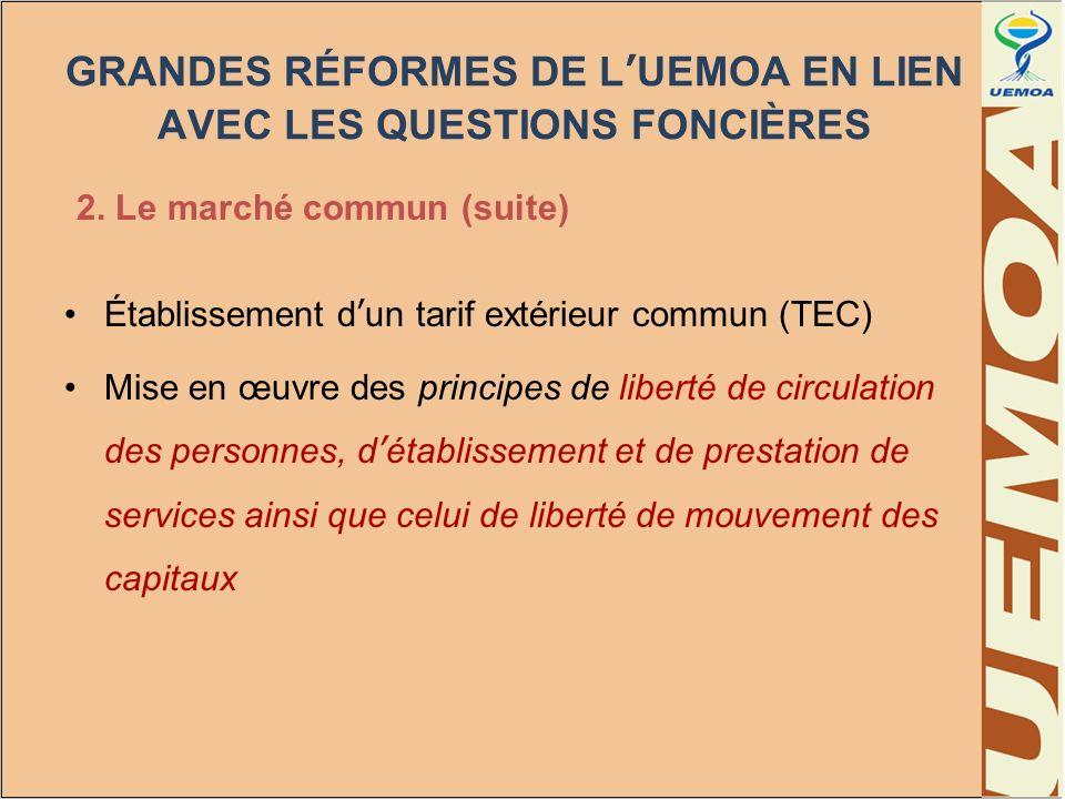 GRANDES RÉFORMES DE LUEMOA EN LIEN AVEC LES QUESTIONS FONCIÈRES 3.