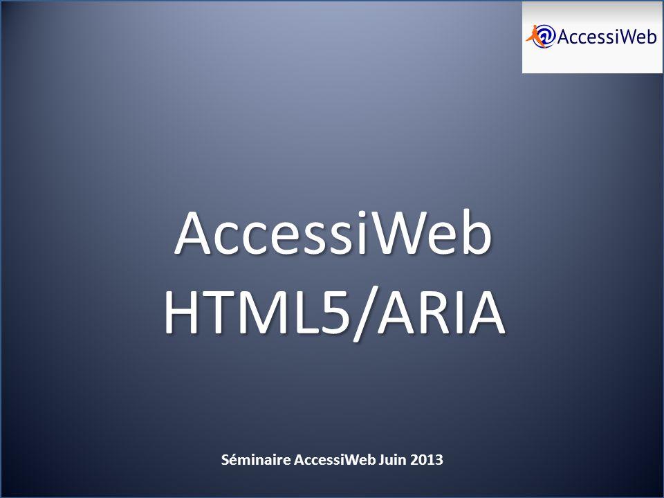 AW HTML5/ARIA Séminaire AccessiWeb Juin 2013 AW 2.2 n est pas adapté à HTML 5 Les différences de fond et les évolutions sont trop nombreuses pour porter AW 2.2 vers HTML 5 HTML5 supprime ou modifie des éléments requis par AW 2.2 Par exemple summary pour les tableaux, longdesc pour les images Outline pour le titrage… La notion dalternative et de compatibilité pour Javascript telle que définie par AW 2.2 nest pas adaptée à HTML 5 AW 2.