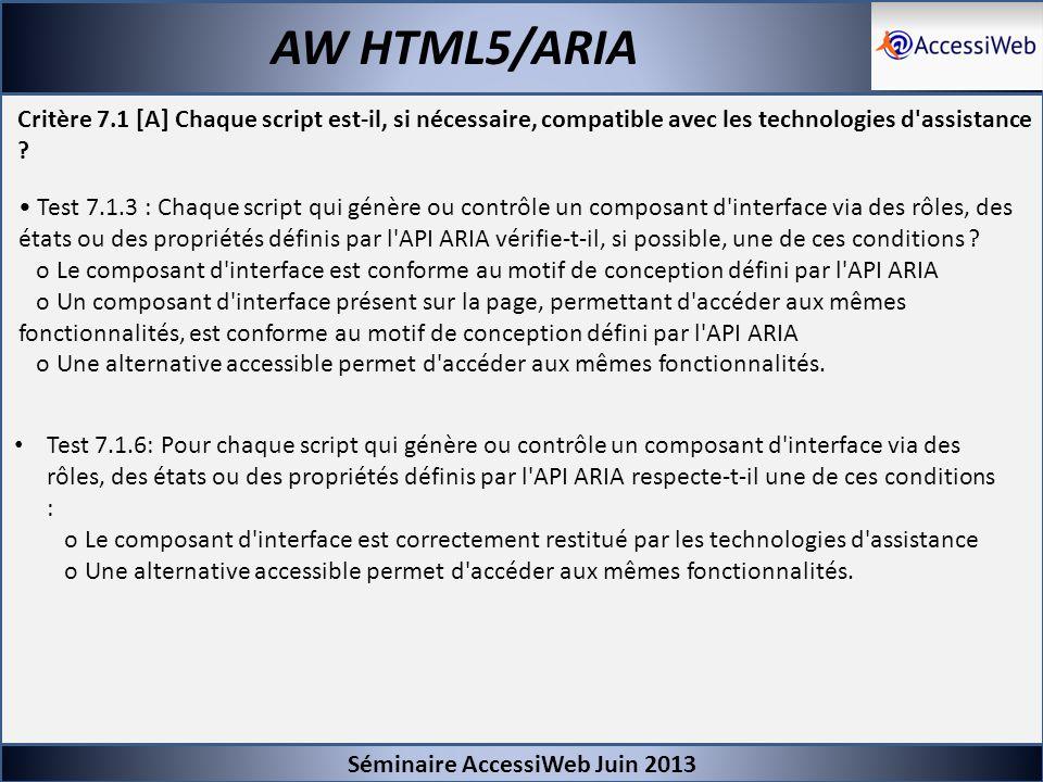 Séminaire AccessiWeb Juin 2013 AW HTML5/ARIA Critère 7.1 [A] Chaque script est-il, si nécessaire, compatible avec les technologies d'assistance ? Test