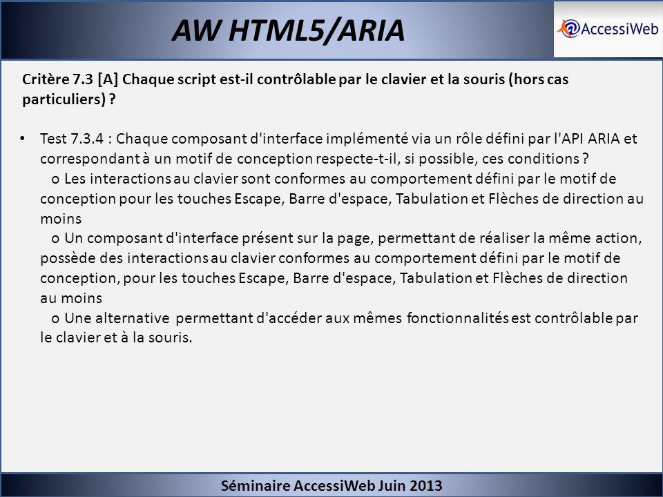 Séminaire AccessiWeb Juin 2013 AW HTML5/ARIA Critère 7.3 [A] Chaque script est-il contrôlable par le clavier et la souris (hors cas particuliers) ? Te