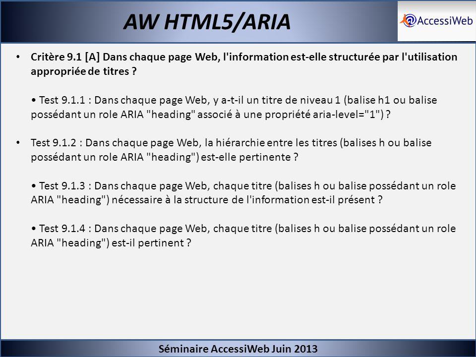 Séminaire AccessiWeb Juin 2013 AW HTML5/ARIA Critère 9.1 [A] Dans chaque page Web, l'information est-elle structurée par l'utilisation appropriée de t