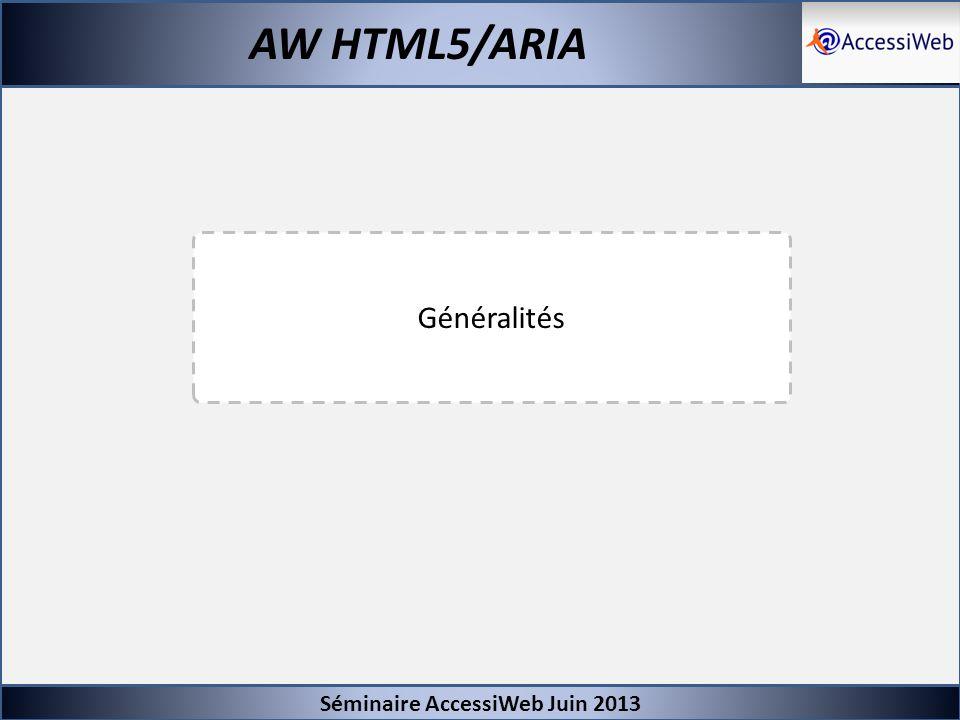 Séminaire AccessiWeb Juin 2013 AW HTML5/ARIA -Modification de la nomenclature (niveaux : A, AA, AAA !) -Très peut de nouveaux critères (on reste à 133 critères) -Les nouveaux éléments sont implémentés au niveau des tests -Pris en charge d ARIA chaque fois que nécessaire : -Présence/pertinence des rôles ARIA nécessaires -Test de la restitution AT chaque fois que nécessaire -Création de notes techniques chaque fois que nécessaire liées aux critères sur le même modèle que le glossaire -Création d une base de référence pour la compatibilité avec l accessibilité Référentiel AW HTML5 Glossaire Notes Techniques Glossaire Notes Techniques Base de référence