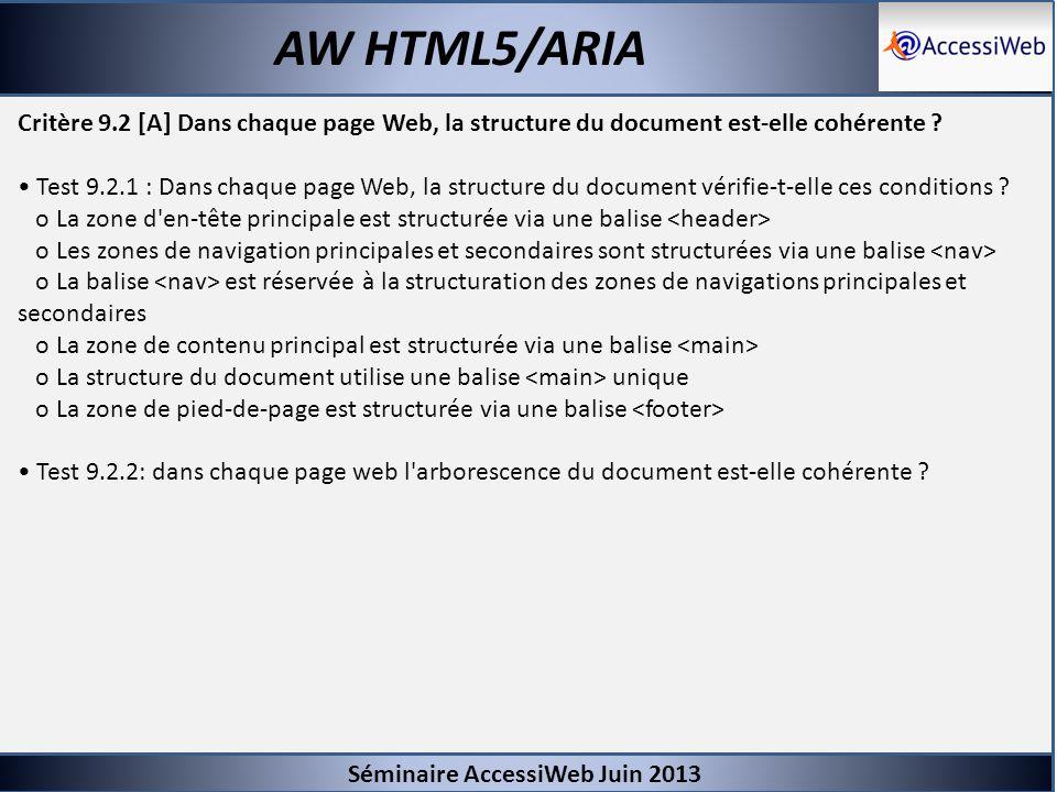 Séminaire AccessiWeb Juin 2013 AW HTML5/ARIA Critère 9.2 [A] Dans chaque page Web, la structure du document est-elle cohérente ? Test 9.2.1 : Dans cha