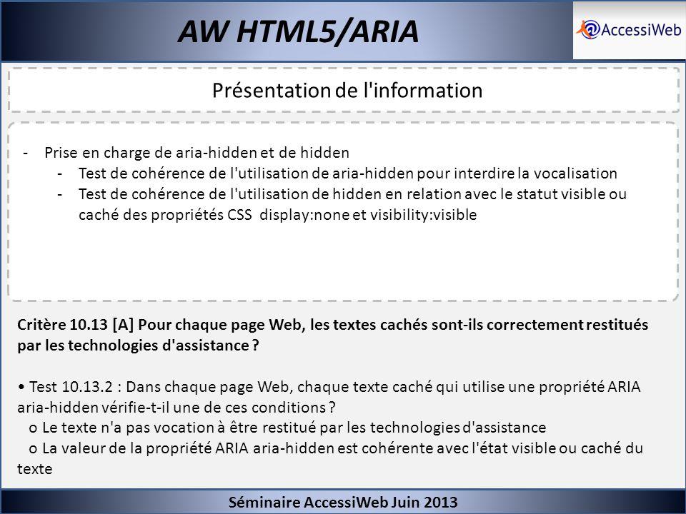 Séminaire AccessiWeb Juin 2013 AW HTML5/ARIA Présentation de l'information -Prise en charge de aria-hidden et de hidden -Test de cohérence de l'utilis