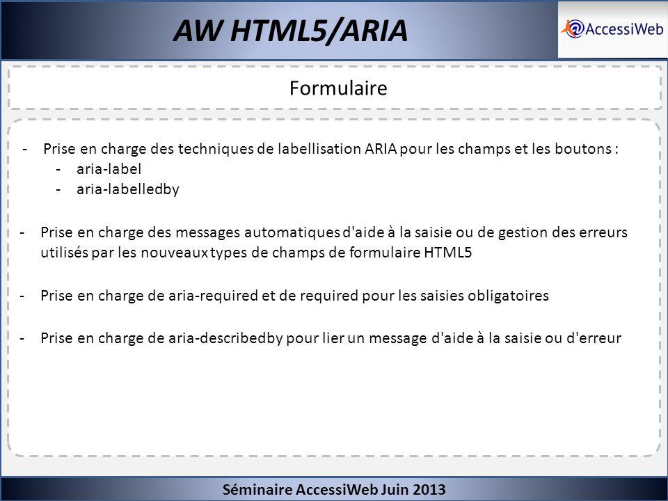 Séminaire AccessiWeb Juin 2013 AW HTML5/ARIA Formulaire -Prise en charge des techniques de labellisation ARIA pour les champs et les boutons : -aria-l
