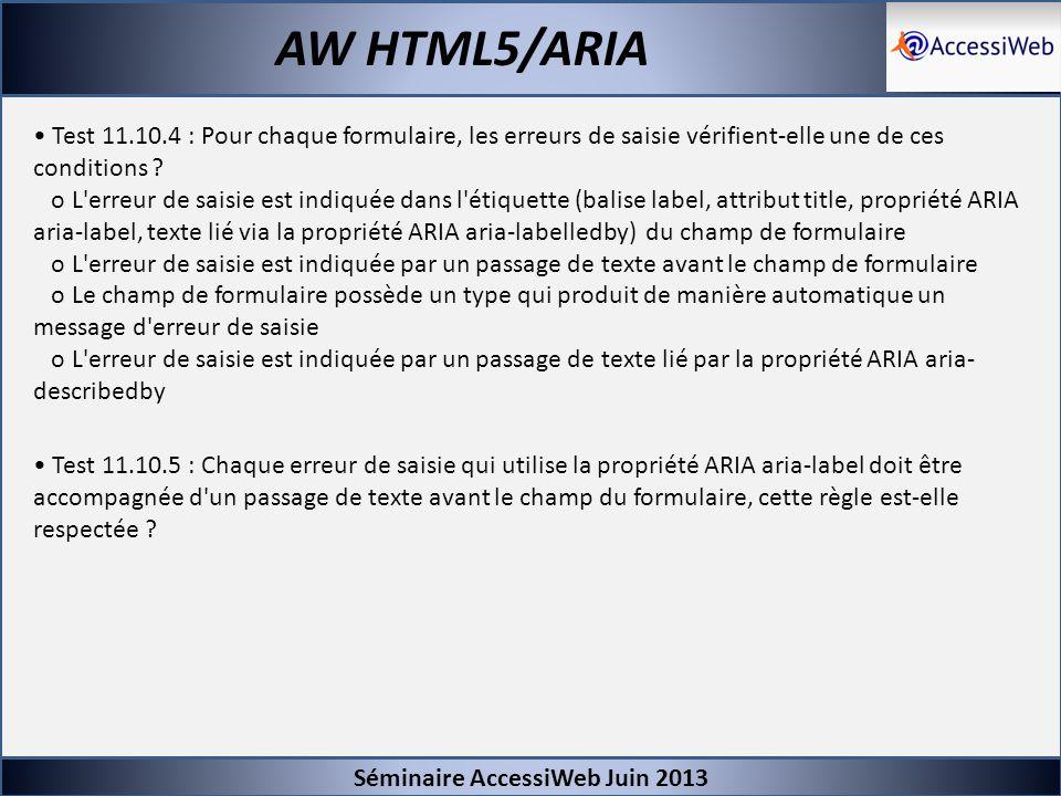 Séminaire AccessiWeb Juin 2013 AW HTML5/ARIA Test 11.10.4 : Pour chaque formulaire, les erreurs de saisie vérifient-elle une de ces conditions ? o L'e