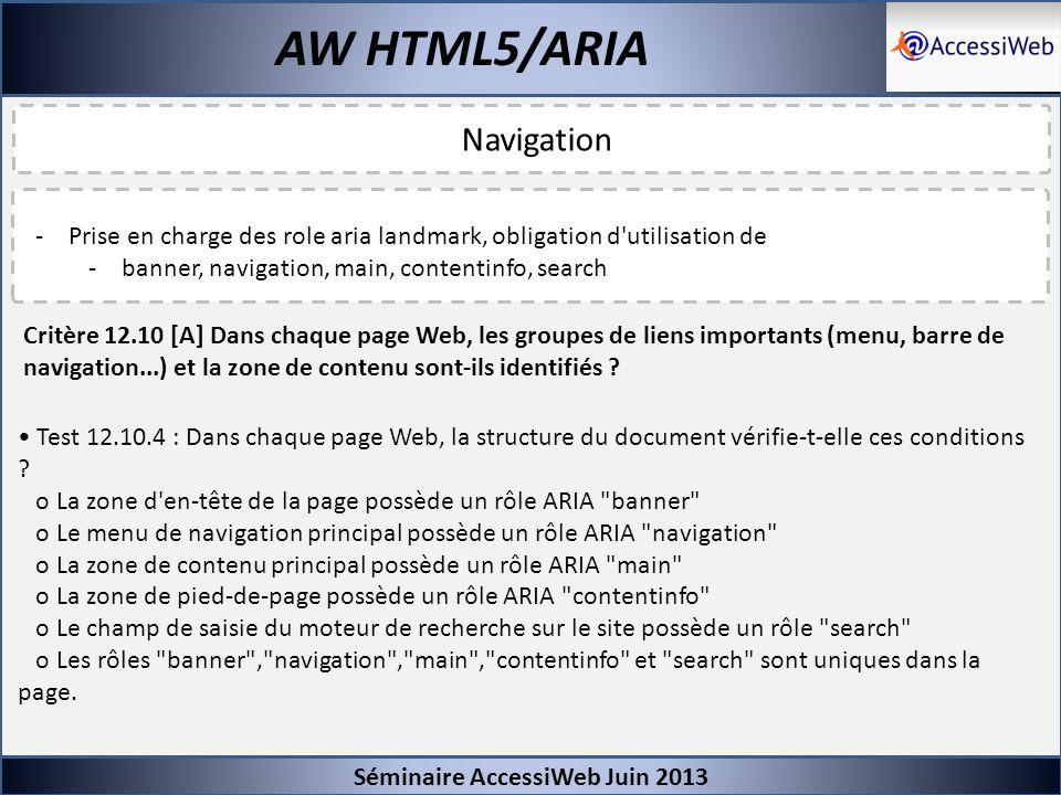 Séminaire AccessiWeb Juin 2013 AW HTML5/ARIA Navigation -Prise en charge des role aria landmark, obligation d'utilisation de -banner, navigation, main