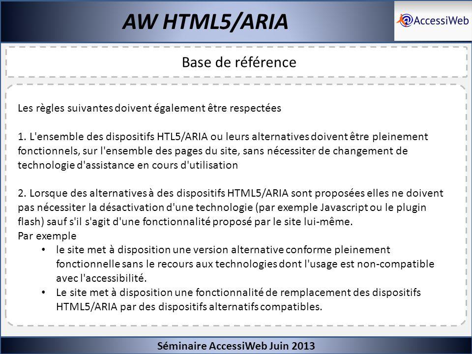Séminaire AccessiWeb Juin 2013 AW HTML5/ARIA Base de référence Les règles suivantes doivent également être respectées 1. L'ensemble des dispositifs HT